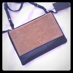 ZARA small leather/suede bag clutch